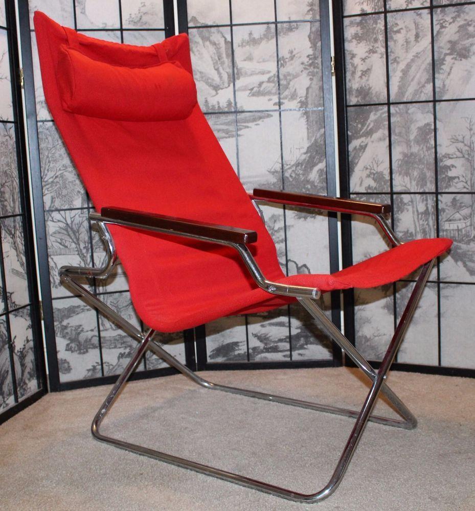 folding z chair cover accessories vintage retro red uchida japan artist shigeru steel wood asian