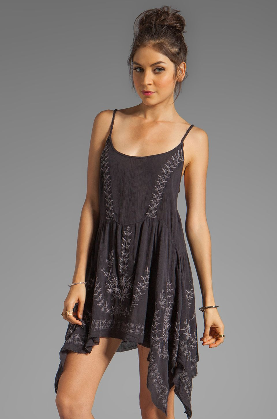 Free People Meadows of Medallion Slip Dress in Washed Black