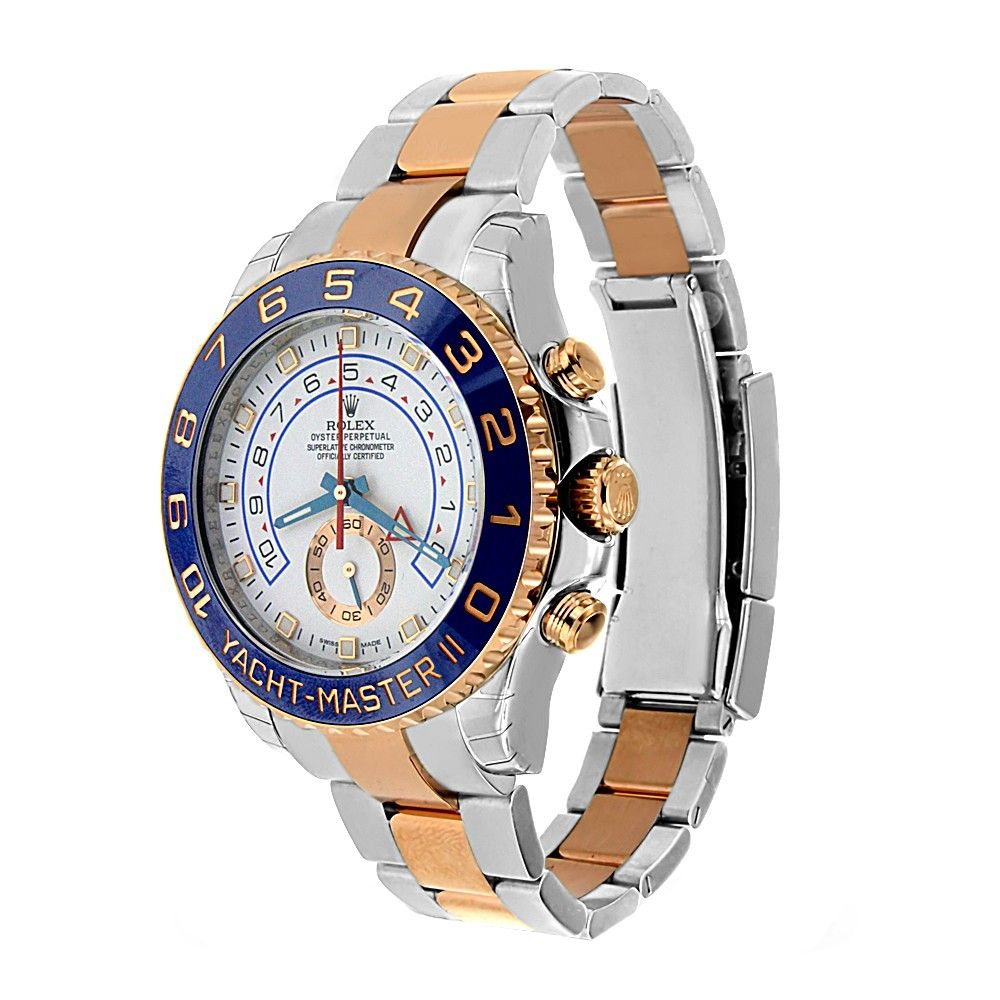 Now For Rent at Vyrent.com  18k Rose Gold & Stainless Steel Rolex Yacht Mater II is a unique regatta chronograph, perfect for those who love to sail, or lounge on a yacht.