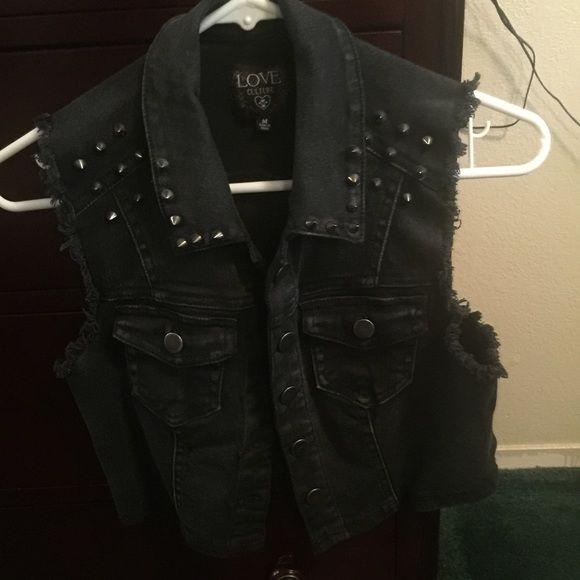 Black studded vest. Cute trendy black studded vest, it's a medium but fits like a small. Love Culture Jackets & Coats Jean Jackets