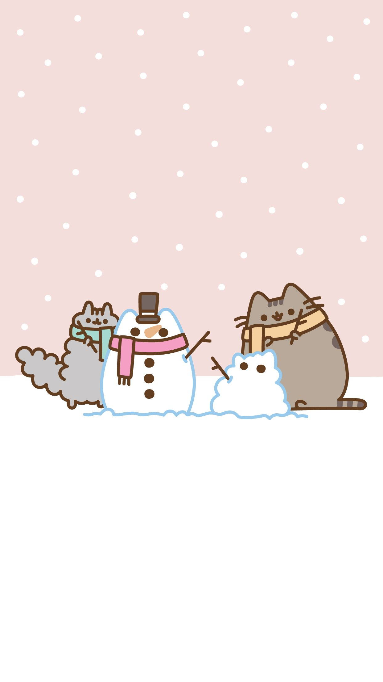 Pusheen and stormy building snowcat replicas of each other