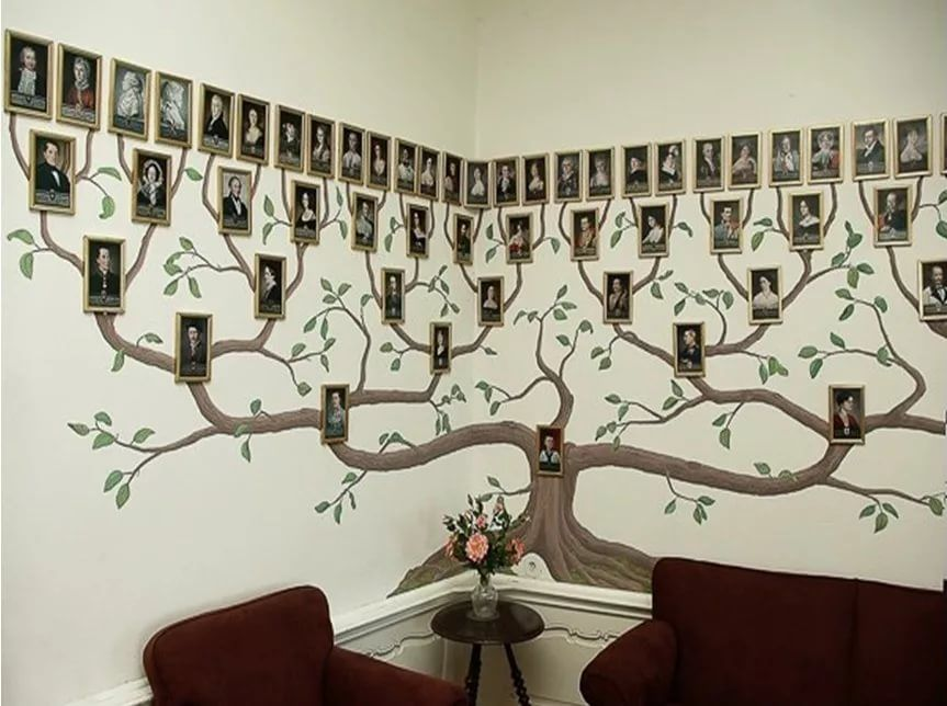 этом генеалогическое древо из фотографий на стене базилики можно