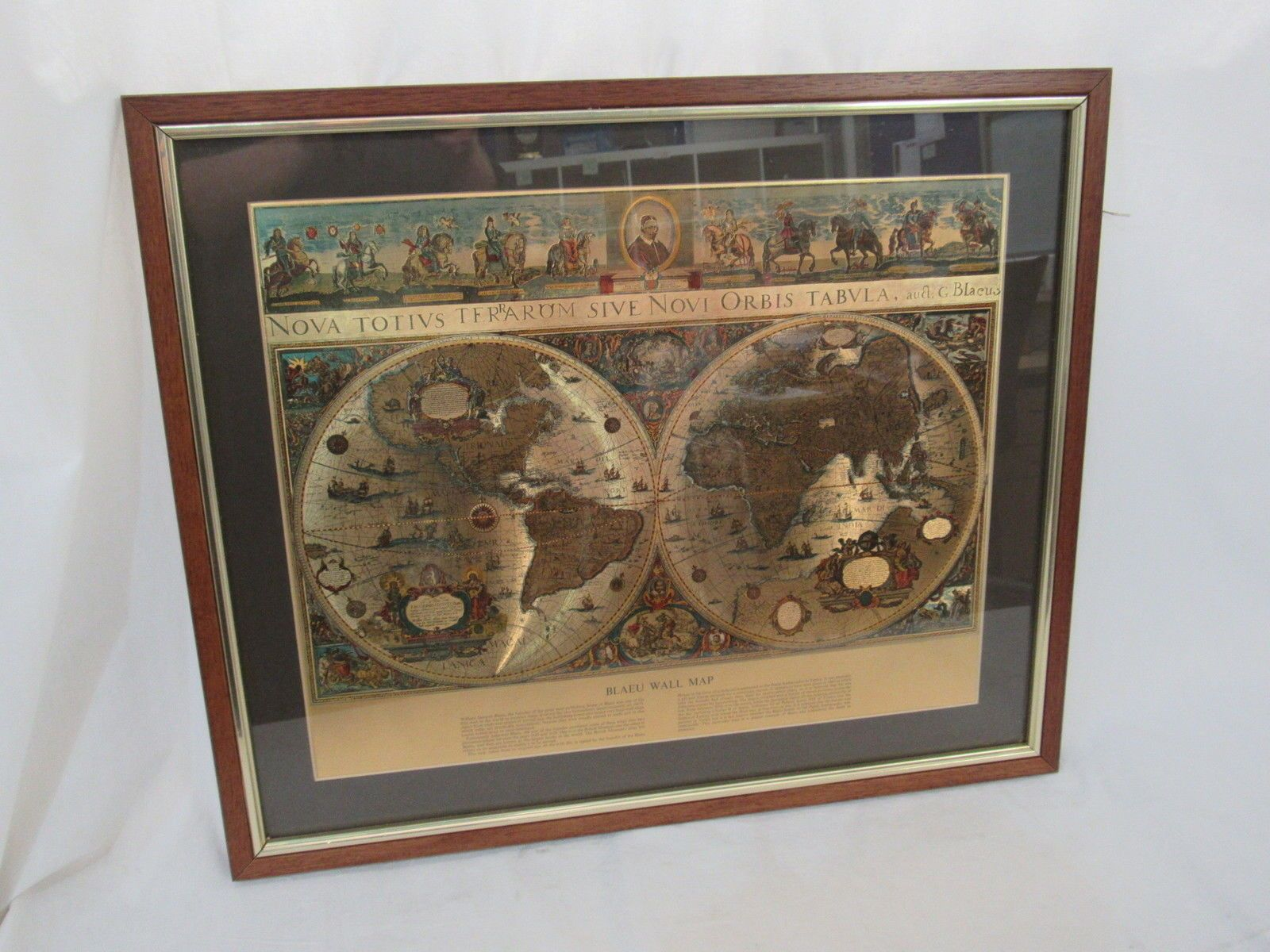 Blaeu World Map.Attractive Framed Gold Foil Reproduction 1650s Blaeu World Map War