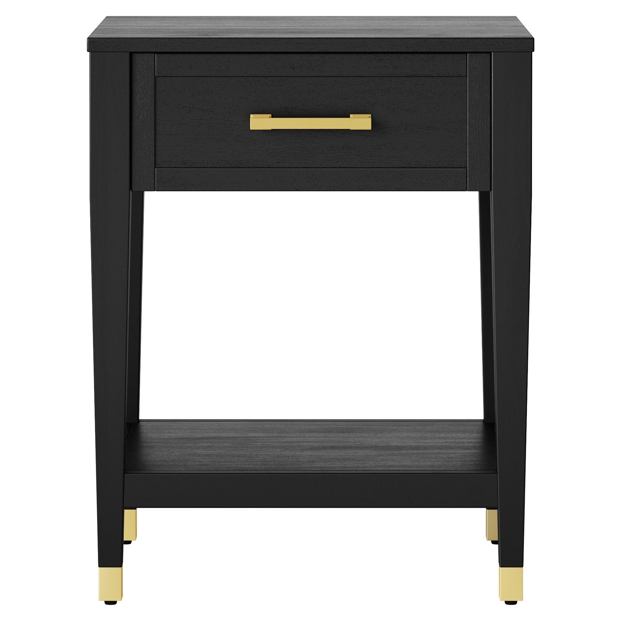 Duxbury Black End Table With Gold Feet Threshold Black End