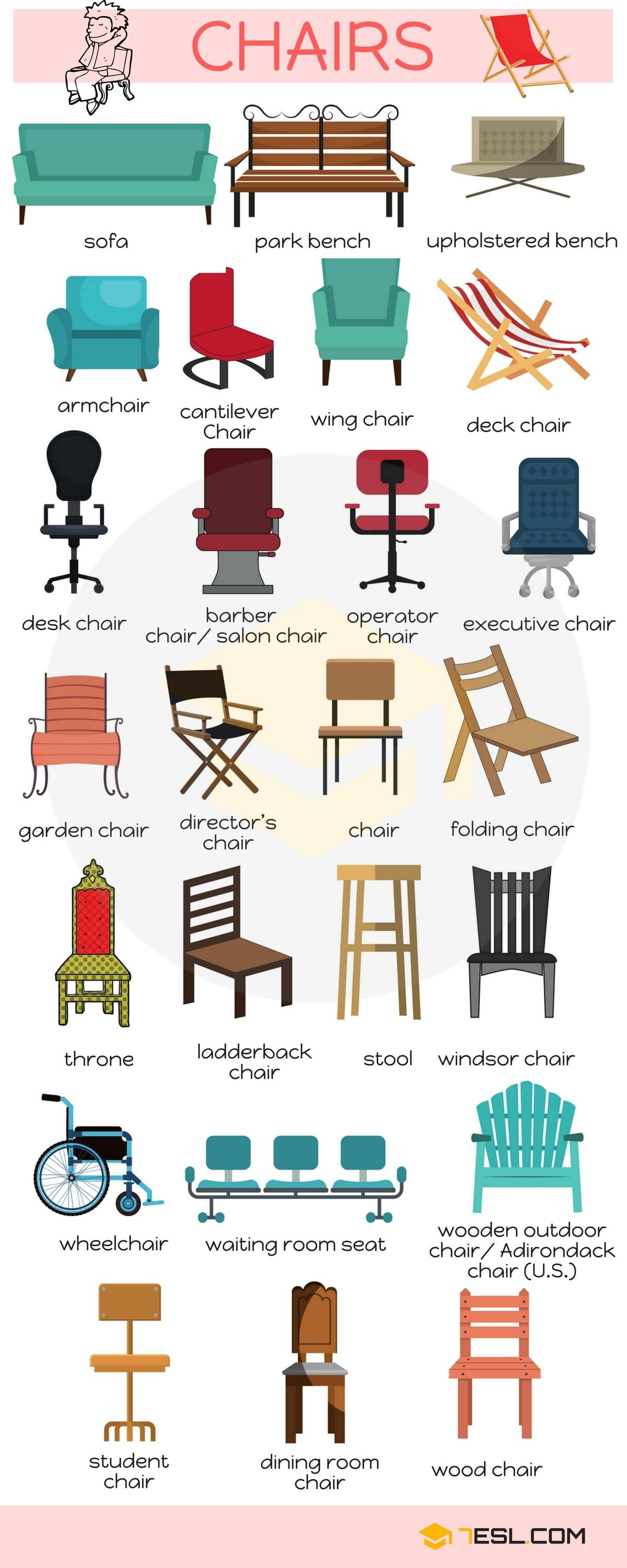 Types Of Chairs: List Of Chair Styles With Names - 7 E S L | English vocabulary, Learn english vocabulary, English language learning