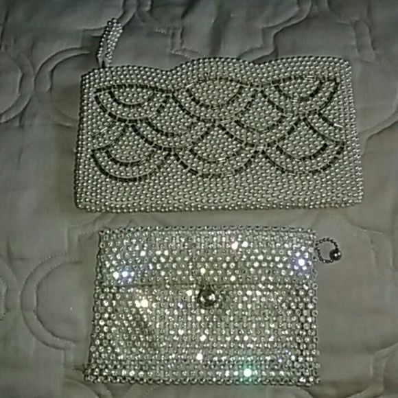 VINTAGE !!! 2 beaded pearl Rhinestone handbags Omg !! Who does not love Sexy Sparkle Rhinestone pearl VINTAGE  clutch handbags. Excellent condition.  They are pretty old. Bought these at a estate sell . A few years back. But never used them. Great for a collector.  Beautiful  . Wrapped up and shipped with care. VINTAGE  Bags Clutches & Wristlets