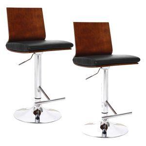 Leick Adjustable Height Swivel Counter Stool   Flat Back With Black Faux  Leather   Set Of