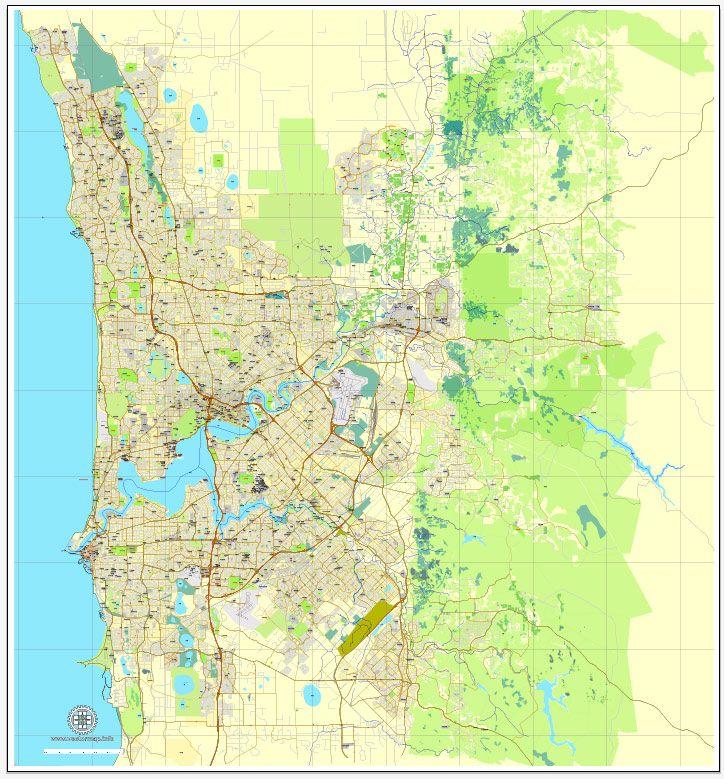 pdf map perth australia exact vector street city plan map v309