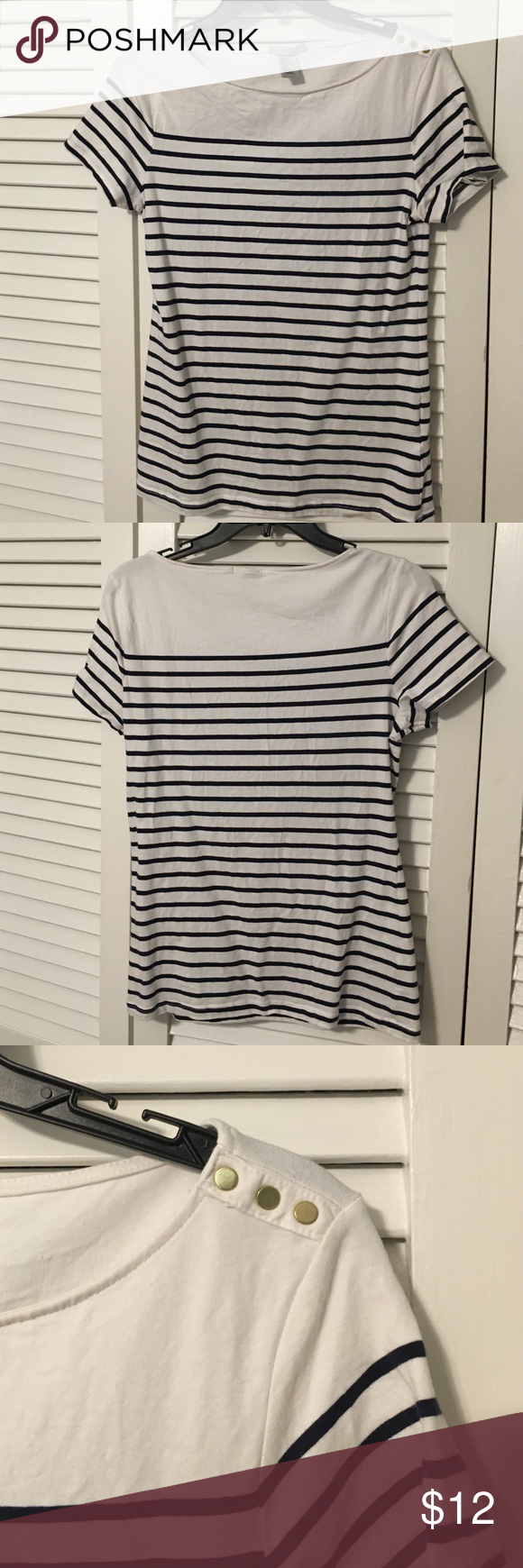 "Navy and white striped tee Navy and white striped tee, with gold ""button"" detailing on the left shoulder. Stretchy/fitted. Like new, worn once H&M Tops Tees - Short Sleeve"