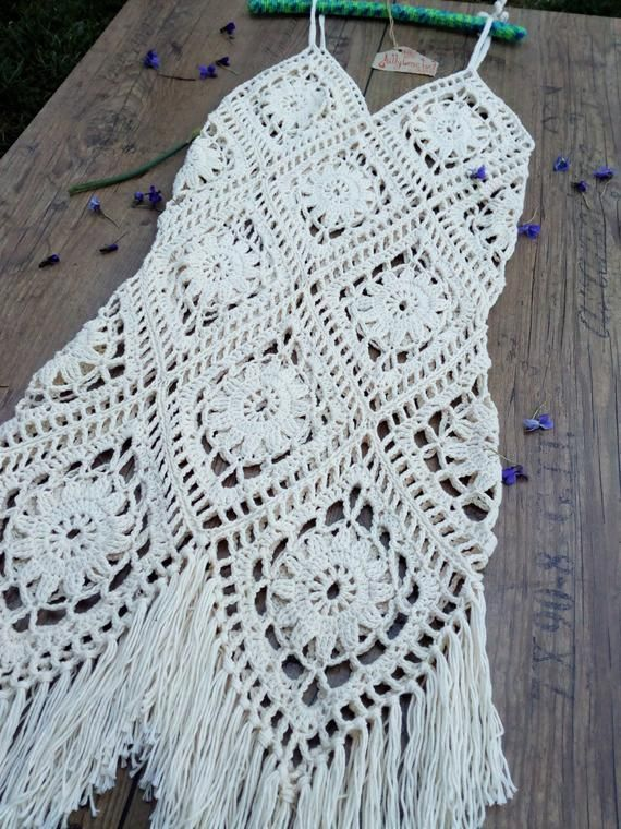 Crochet Boho Vestido, Vestido de verano, Vestido de playa, Bikini cover ups, traje de baño cover up, Crochet Festival Dress, Vestido Fringe, Boho Crochet Maxi