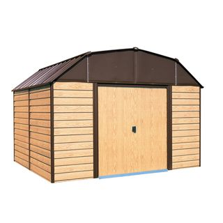 Woodhaven Steel Storage Shed 10 X 14 Ft Gambrel Roof Galvanized Coffee Woodgrain Steel Storage Sheds Metal Storage Sheds Outdoor Storage Sheds