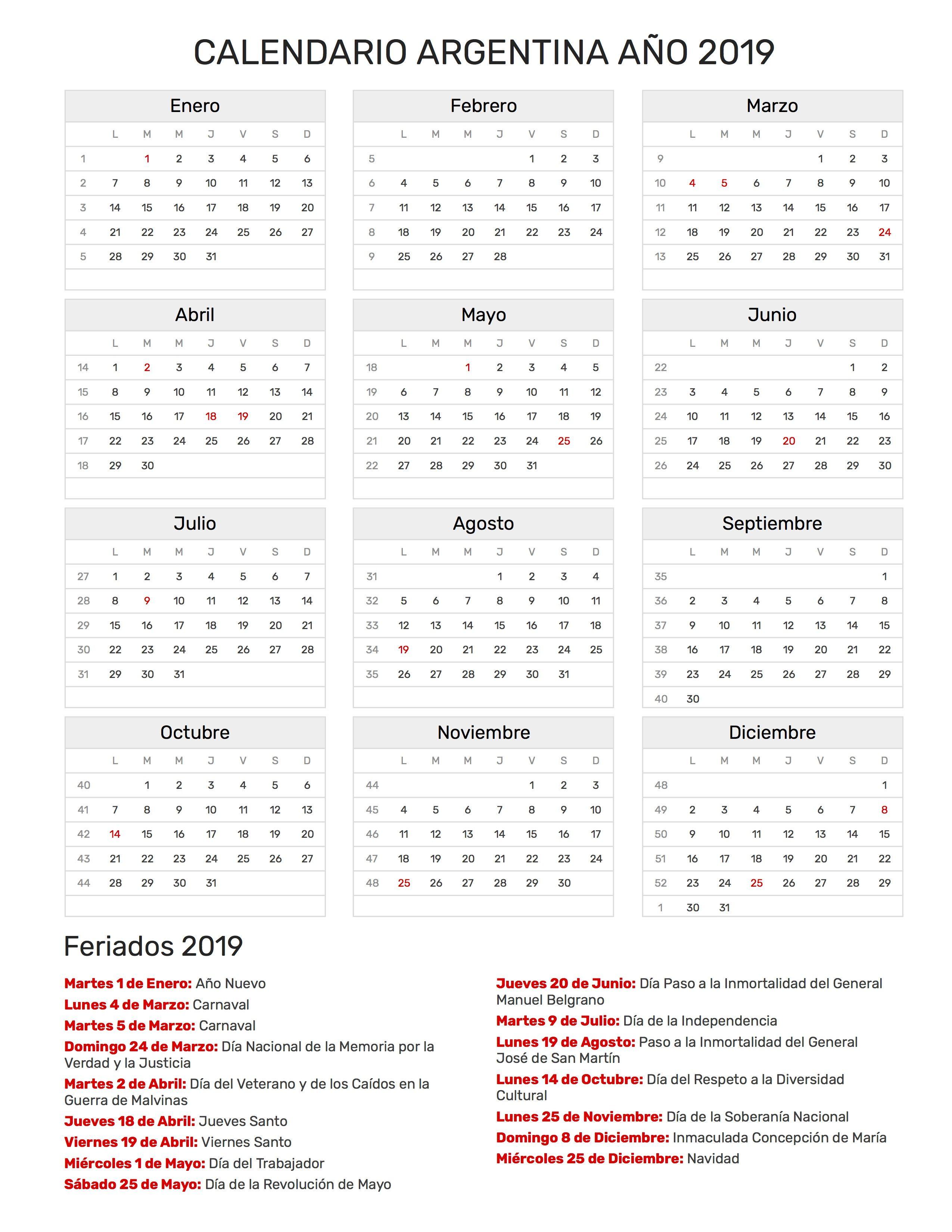Calendario Word 2019.Calendario 2019 Calendario 2019 Chile