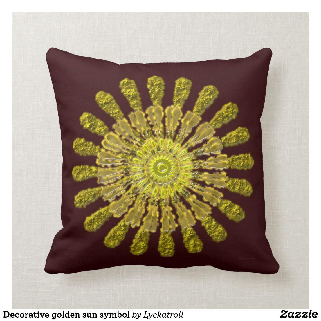 Decorative Golden Sun Symbol Throw Pillow Zazzle Com