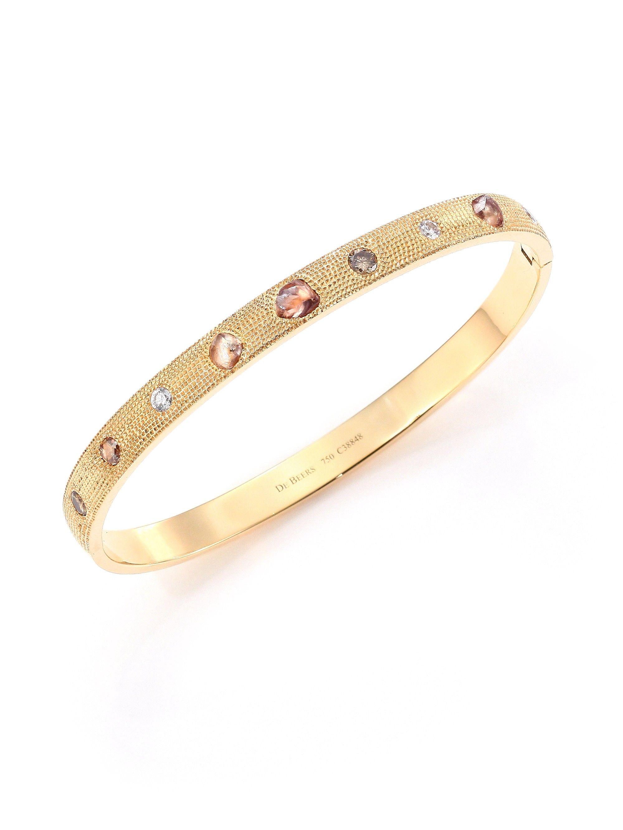 De beers talisman core diamond u k yellow gold bangle bracelet