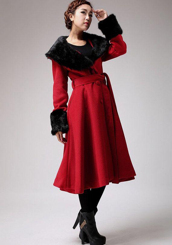 Red cashmere coat winter coat warm wool coat (706)