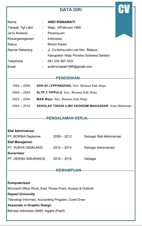 Curriculum Vitae B Indonesia In 2020 Cv Resume Sample Cv Format For Job Job Resume Template