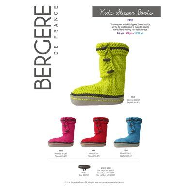 Kids Slipper Boots in Bergere de France Ideal | Knitting Patterns | LoveKnitting