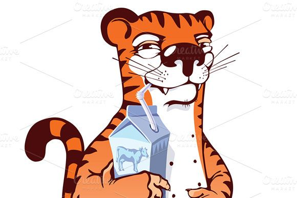 Check out Sly Tiger Drinking Milk by LEKS illustrations on Creative Market