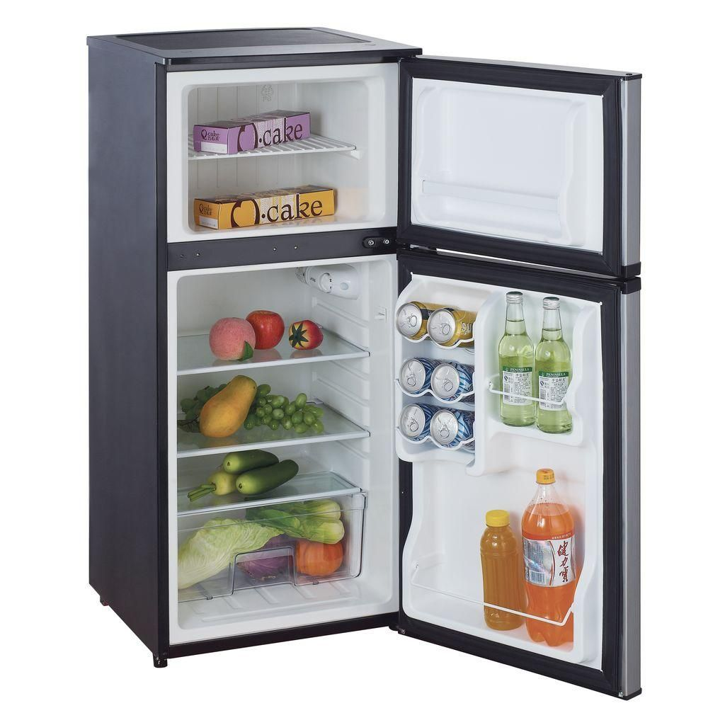 Vissani 4 3 Cu Ft Mini Refrigerator In Stainless Look Hvdr430se At The Home Depot Mini Fridge In Bedroom Compact Refrigerator Mini Fridge