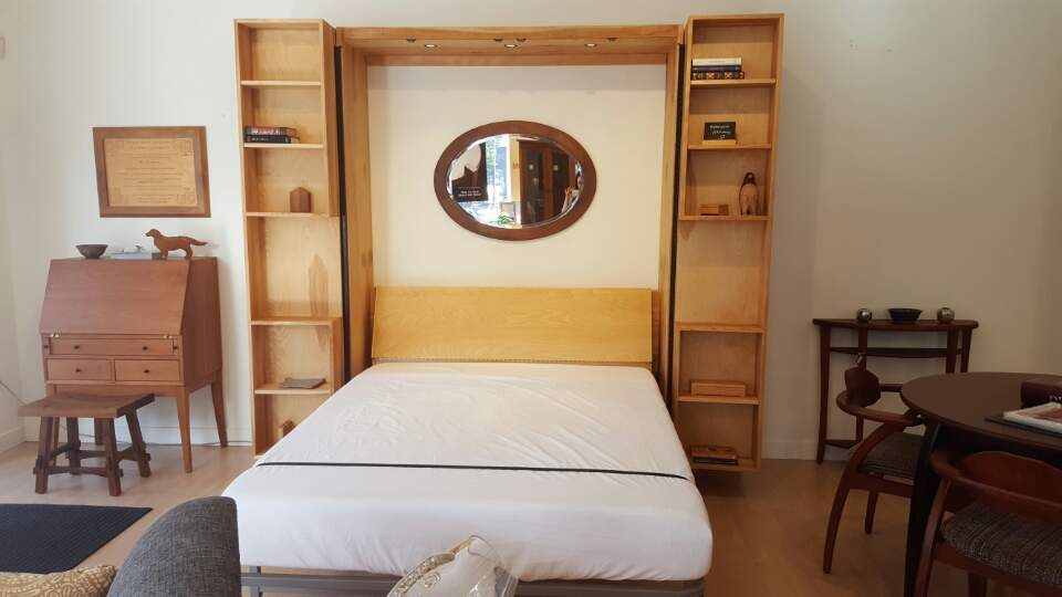 Bi-Folding Bookcase Murphy Bed In Birch