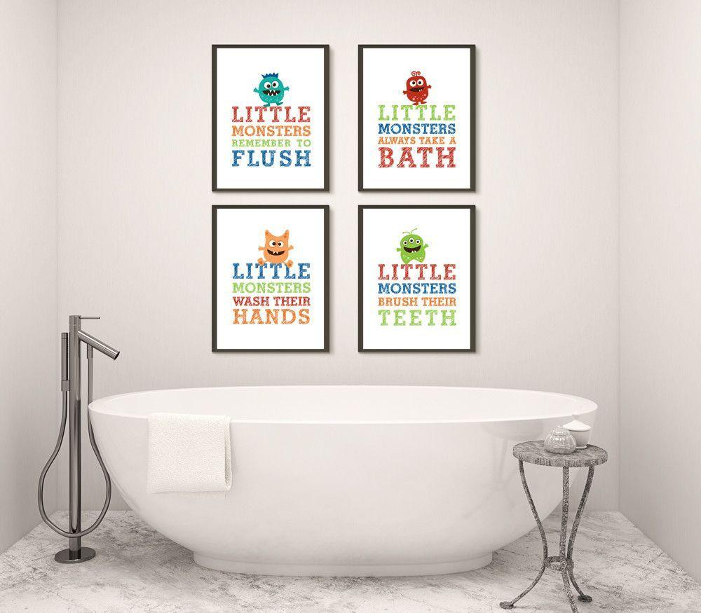 Boy Monster Bathroom Art Prints for Children | Bathroom art, Art ...