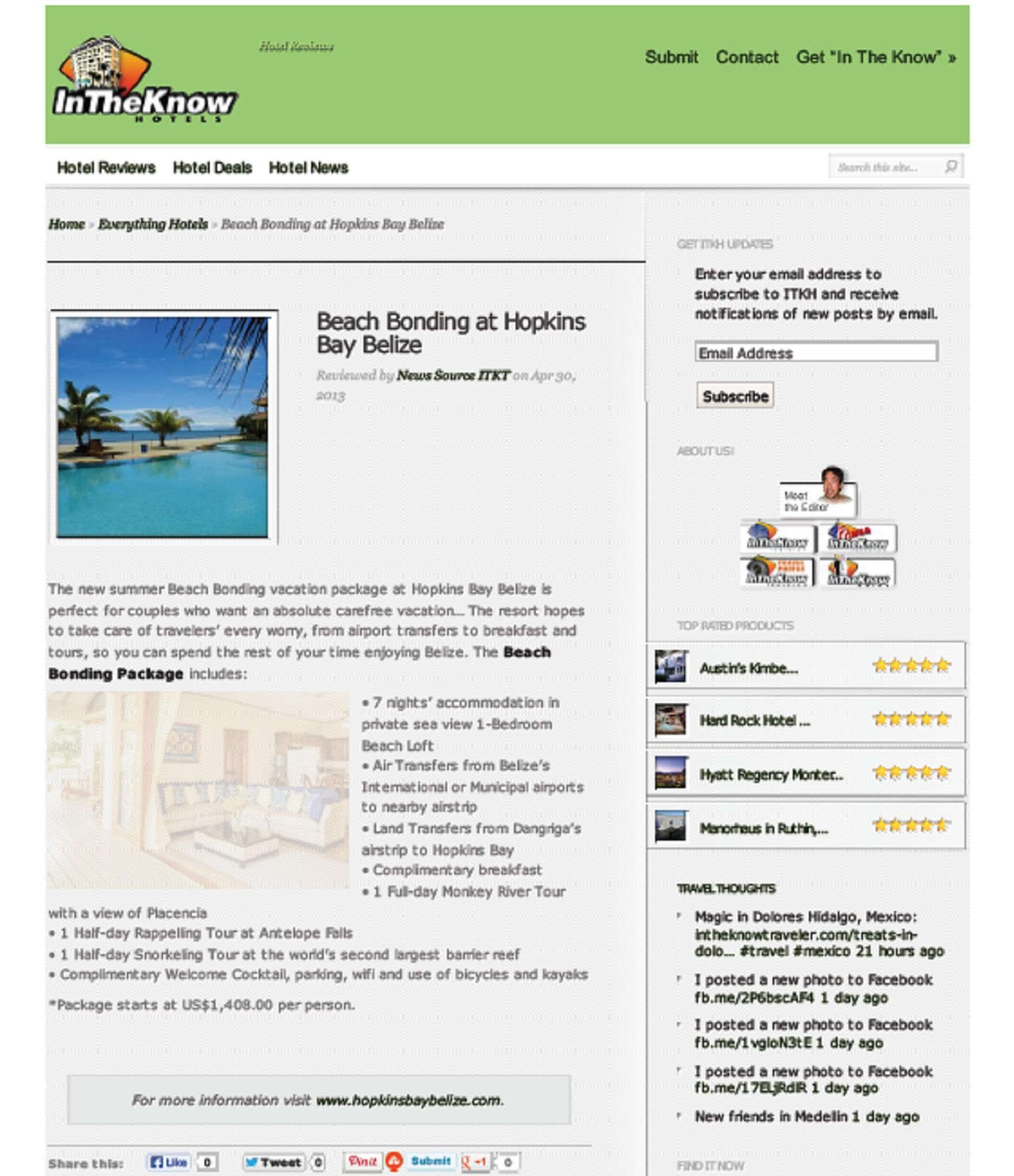 In The Know Hotels: http://www.hopkinsbaybelize.com/wp-content/themes/hopkins_bay_resort/images/In%20The%20Know%20Hotels.pdf
