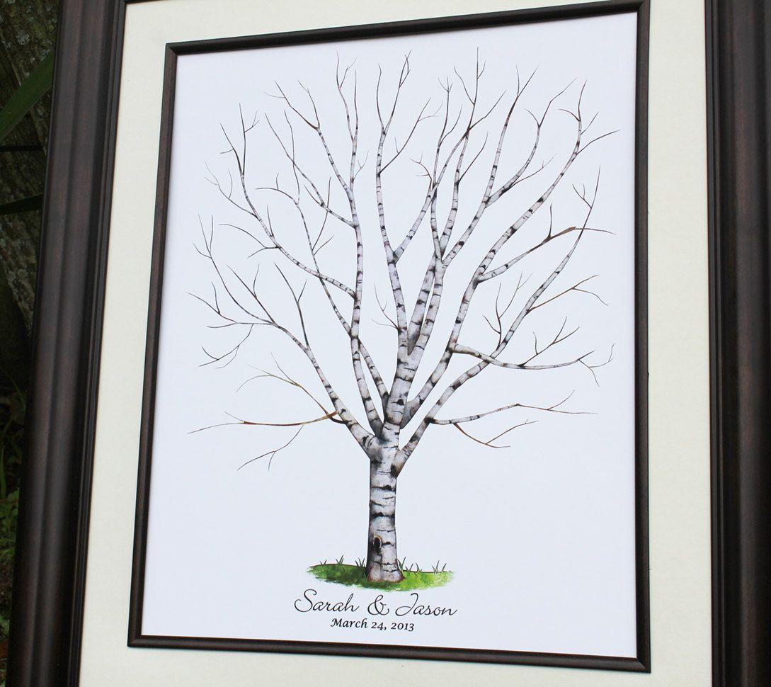 Hand Drawn Wedding Tree Birch Tree Wedding Guest Book Alternative Watercolor Wedding Tree Guest Book Wedding Guest Book Fingerprint Tree Guest Book Tree