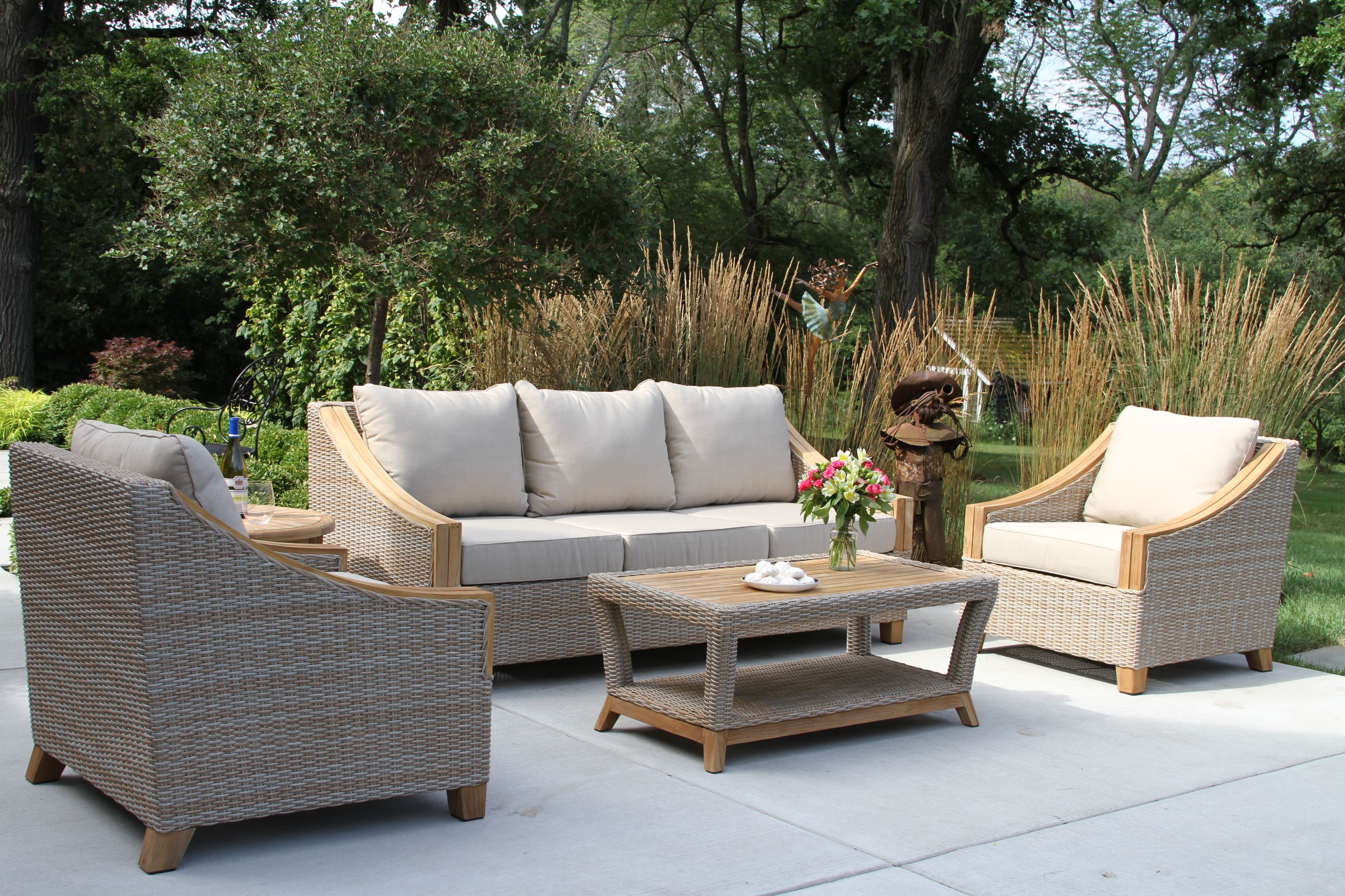 Teak Wicker Coffee Table With Sofa Arm Chairs With Sunbrella Cushions Teak Patio Furniture Lounge Chair Outdoor Patio Furniture [ 2304 x 3456 Pixel ]
