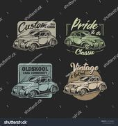 Set Of Classic Car Vector Illustration –