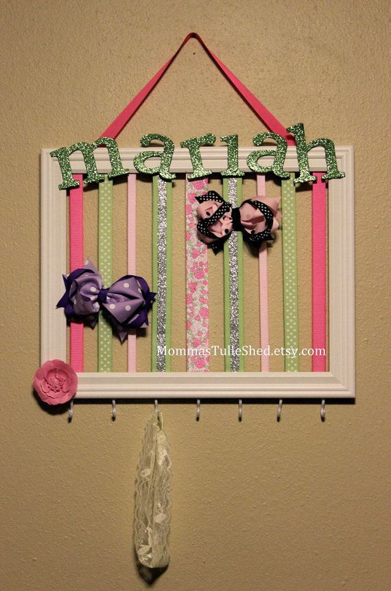 Headband/Bow Holder for a cute little girl's bedroom. A picture #frame to  hold all her pretty barrettes and buckles
