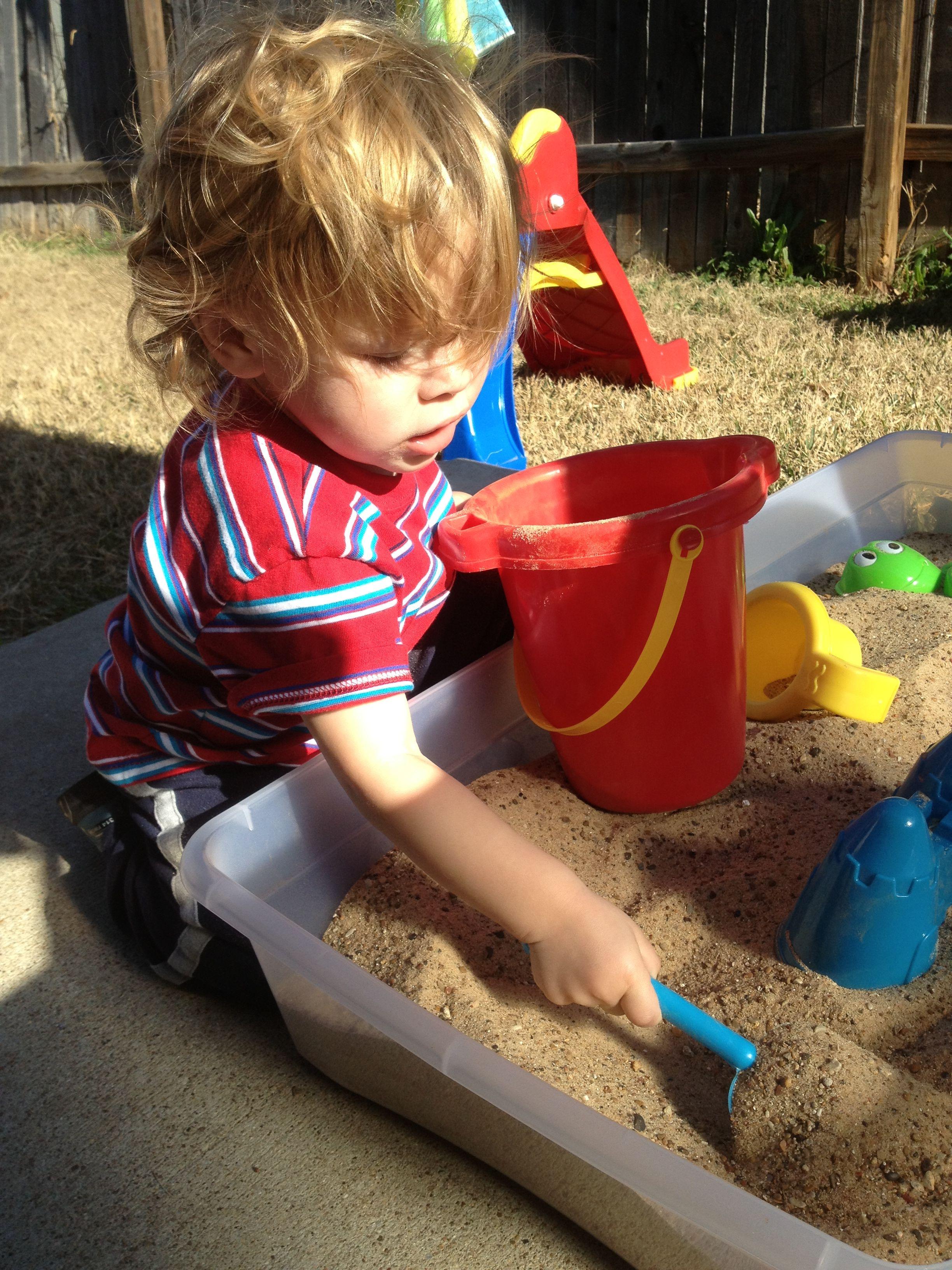 Diy Sandbox 15 00 For Bin And Dollar Sand Toys From Walmart 2