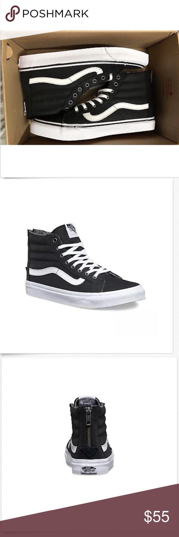 619b69e9ef88 Vans Sk8 Hi Slim Zip Tweed Dots Black True White NWT