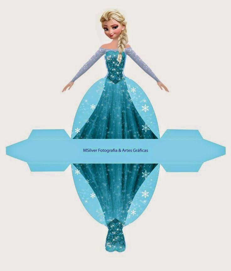 frozen caja con forma de vestido de elsa para imprimir gratis