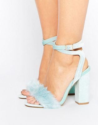 f6c5bf1169 Truffle Collection Blue Fur Velvet Heel Sandal | shoess. in 2019 ...