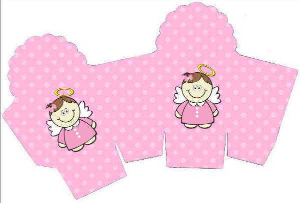 Caixa Cupcake Batizado Menina Anjinha Morena: