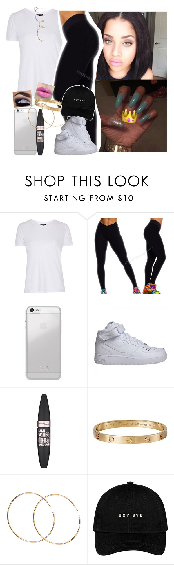 """Just cause is Friday ✔️‼️"" by saucinonyou999 ❤ liked on Polyvore featuring Topshop, Frontgate, NIKE, Maybelline, Cartier, Morra Designs and Thom Browne"