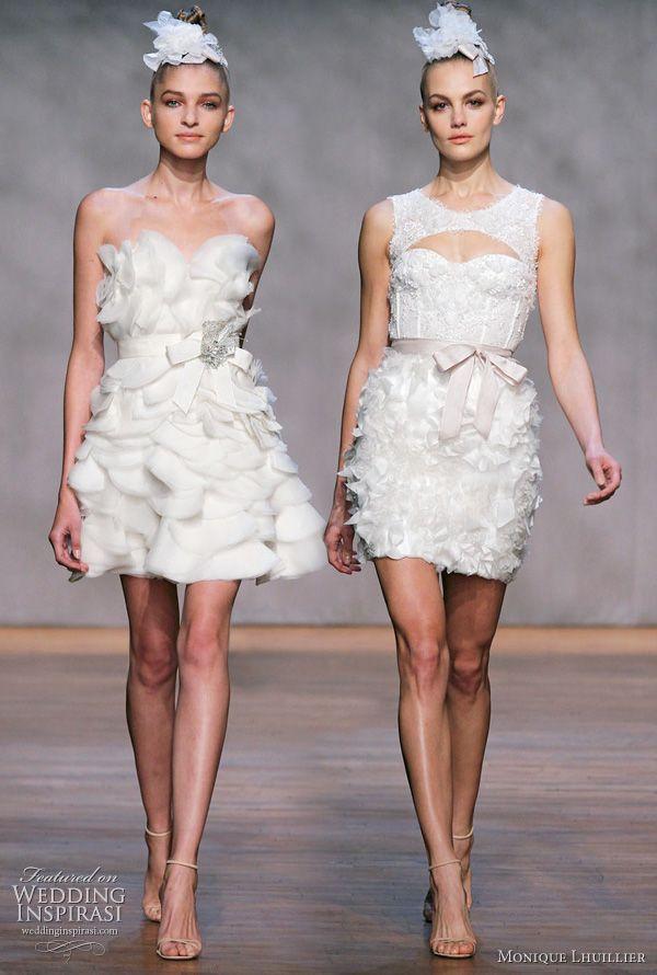 Monique Lhuillier Short Wedding Dresses Fall 2017 Bridal Collection Iris Ivory Silk Satin Organza Strapless Mini Fl Petal Dress With Sash