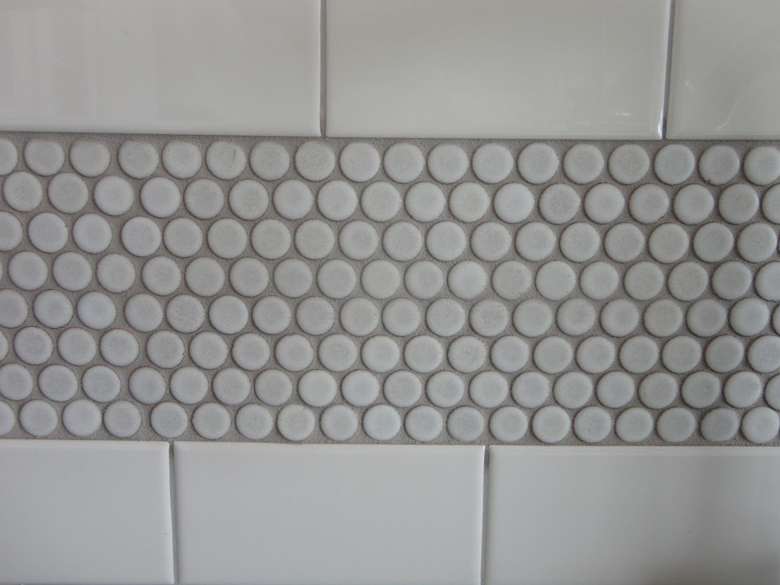 Today is the Day White subway tile shower, Penny tile