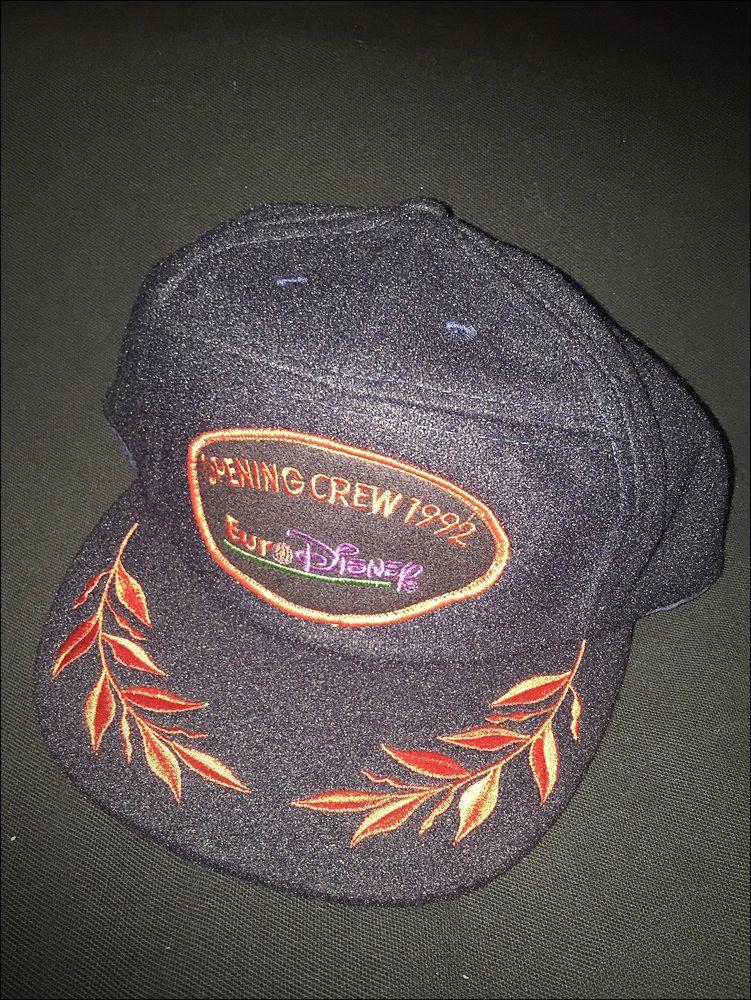 Vintage Deadstock 90 S Eurodisney Opening Crew 5 Panel Wool Strapback Hat Cap Rare Strapback Hats Hats Vintage