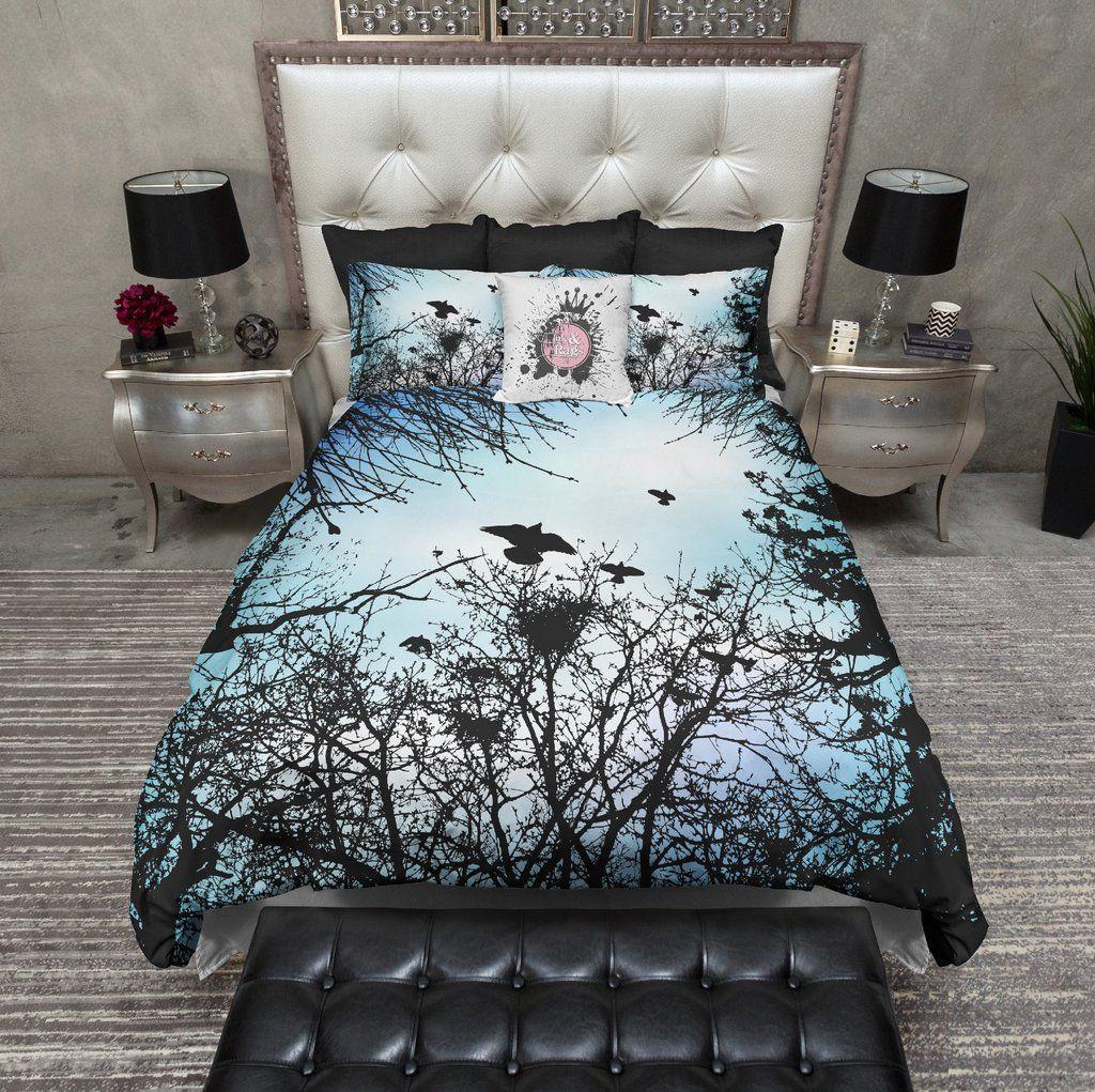 Skull Moon Bedding Queen King bedding set Watercolor Bed linen Sky Duvet cover