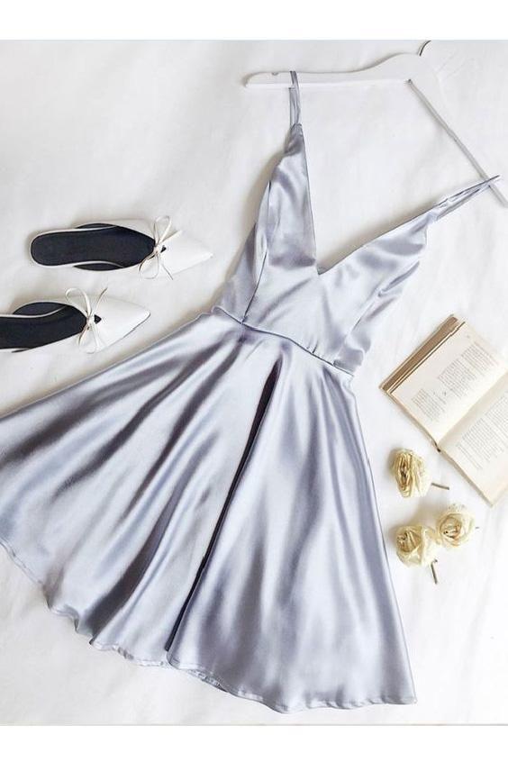Simple Spaghetti Straps V-neck Short Prom Dress/Homecoming Dresses