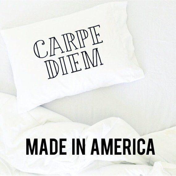 Graduation Gift Carpe Diem Love Life Pillow Case Dorm Room Bed Dorm Pillow College Dorm Pillow Gift Dorm Room Pillow Love Life