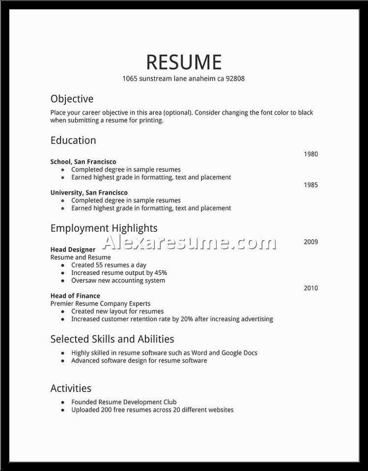 Image result for basic resume template Easy Pinterest Resume - a resume format