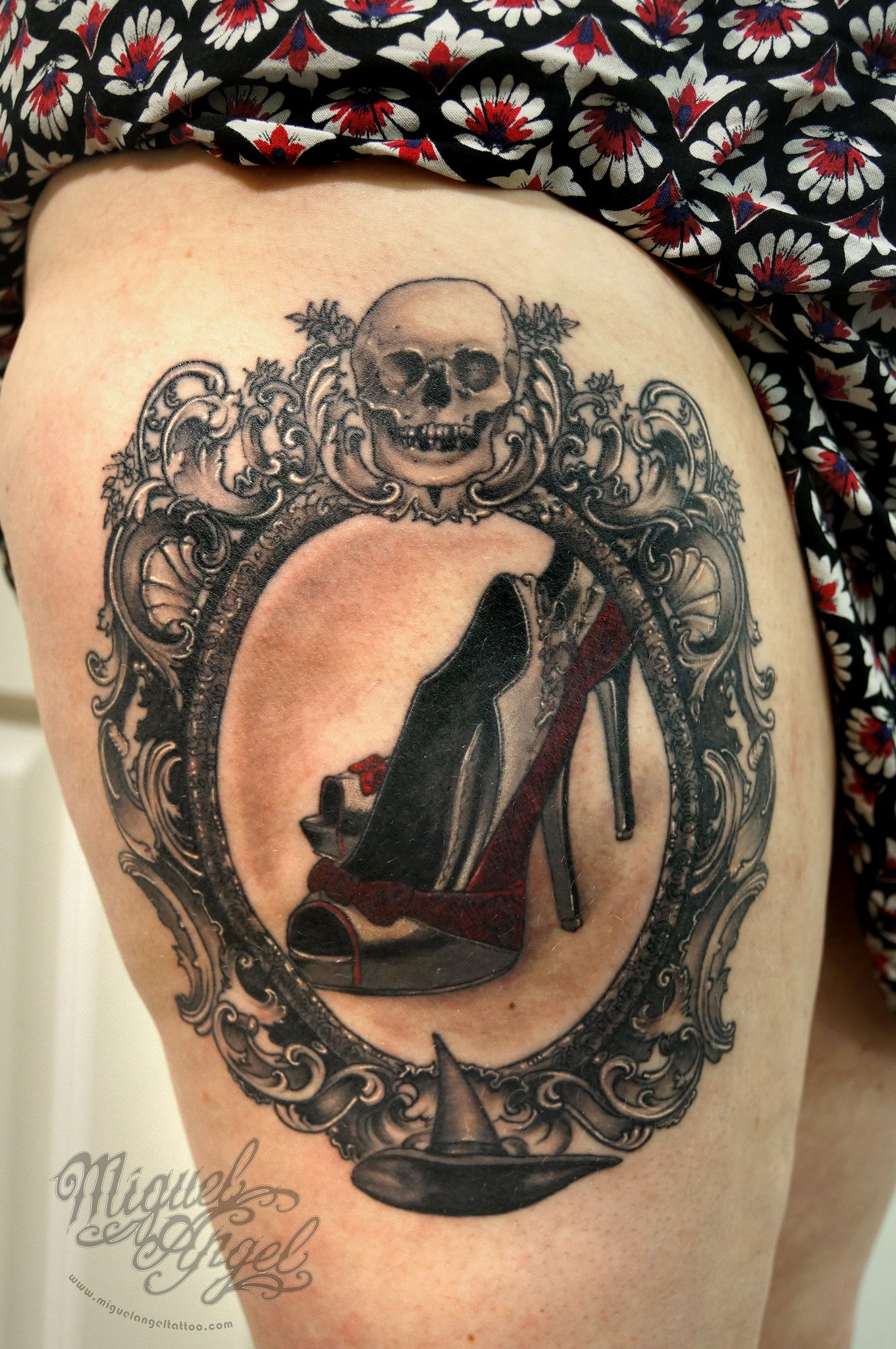Wizard of Oz, Victorian frame, skull and stiletto shoes Custom tattoo