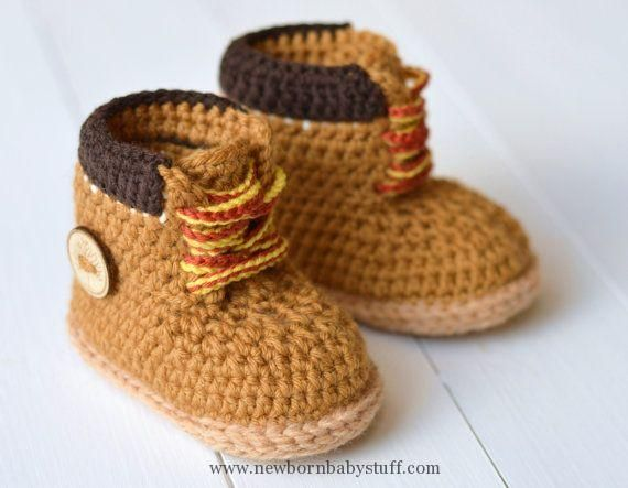 Crochet Baby Booties CROCHET PATTERN Boots for Baby Boys Timberland ...