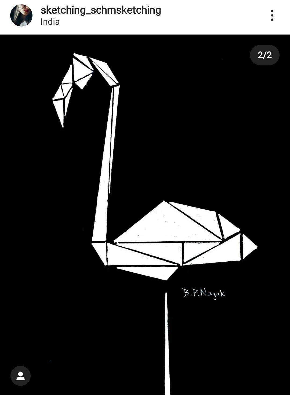 Origami geometrical crane