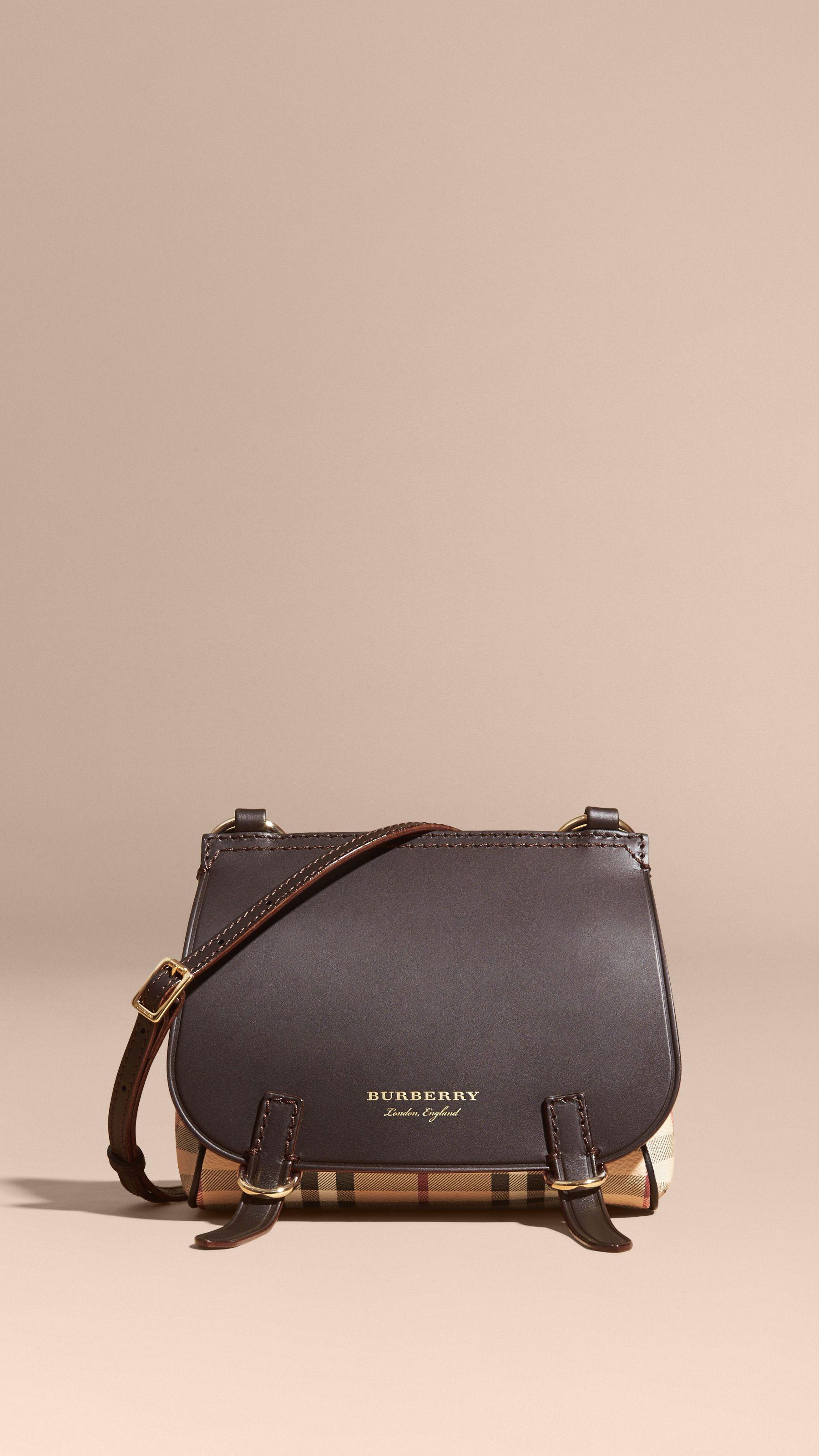 52c0e6b3718a The Baby Bridle Bag in Leather and Haymarket Check Dark Clove Brown