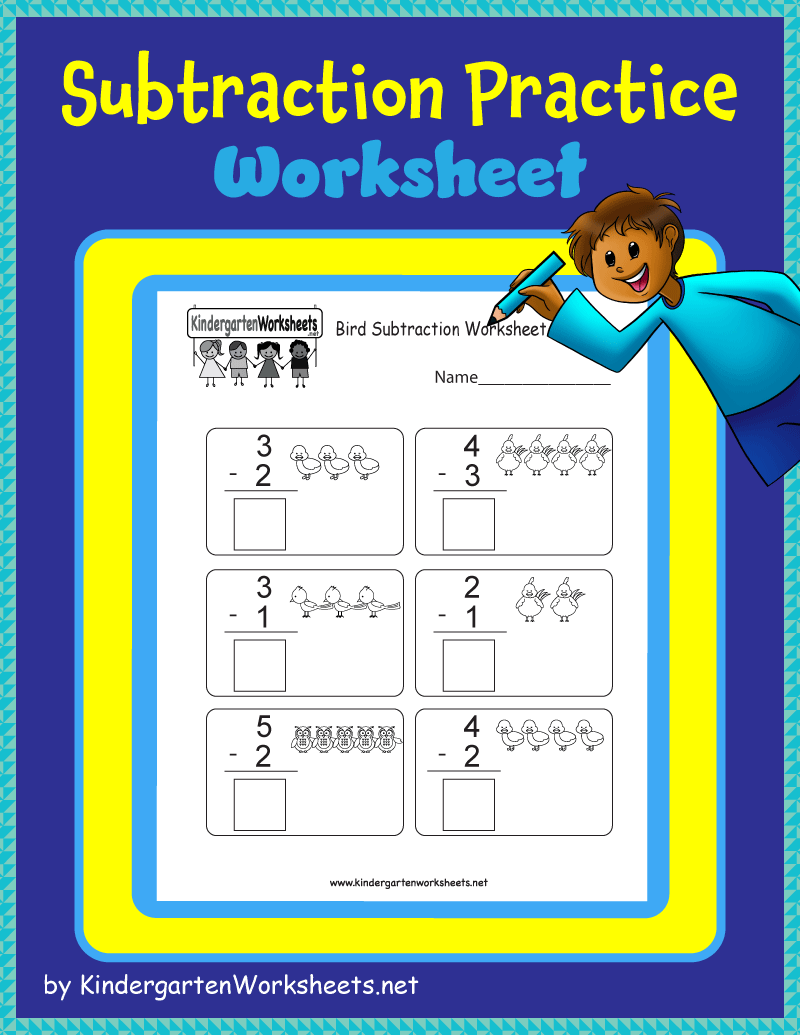 Kindergarten Subtraction Practice Worksheet Subtraction Practice Subtraction Practice Worksheets Kindergarten Math Worksheets Free