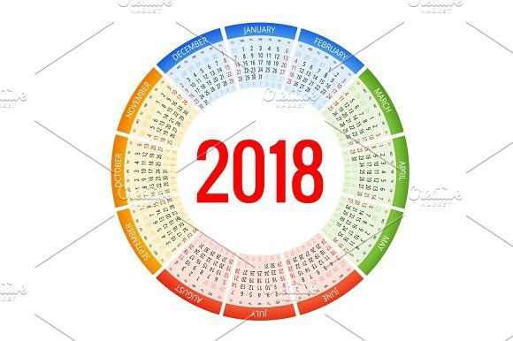 2018 Circle Calendar Print Template Week Starts Sunday Portrait
