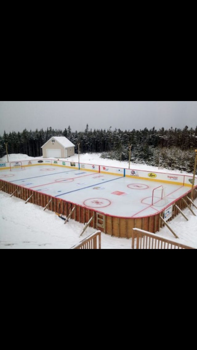 Backyard hockey rink. I would love to have this in my ...